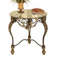 2121 | Metal round accent table with glass top